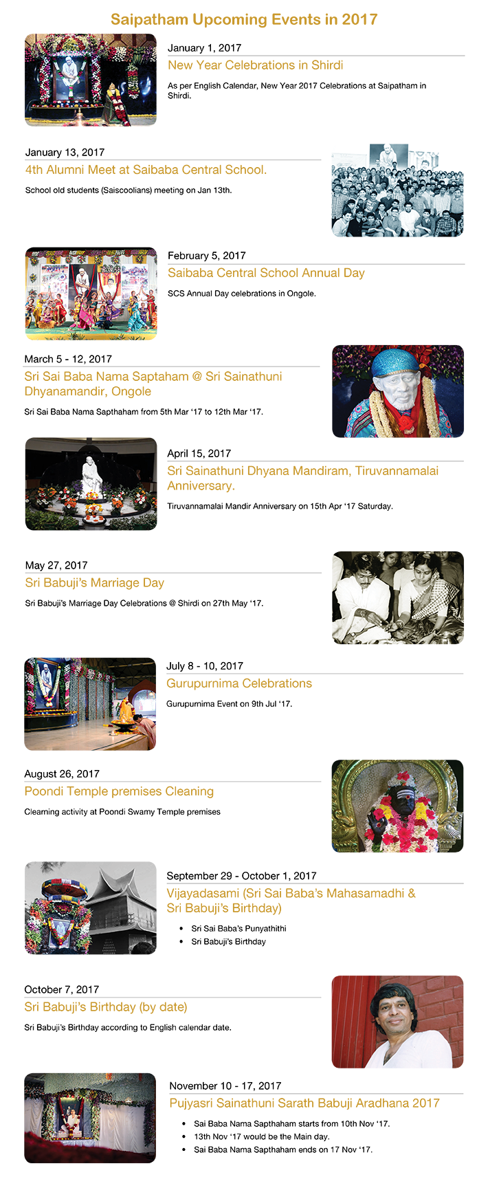 Schedule of events at Saipatham
